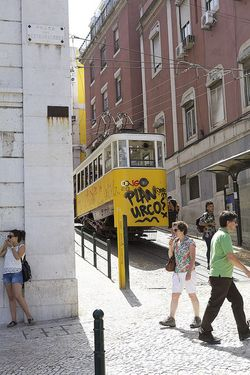 Portugal Lisbon yellow tram