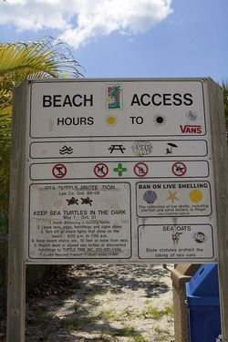 LDW beach access sign